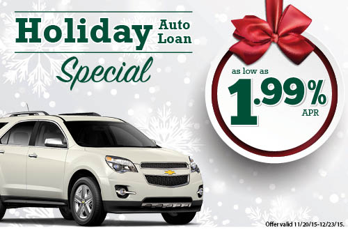 Holiday Auto Loan Special - Rates as low as 1.99%APR