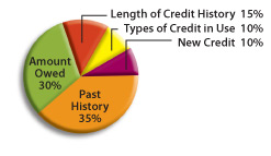 Past History: 35%, Amount Owed: 30%, Length of Credit History: 15%, Types of Credit in Use: 10%, New Credit : 10%